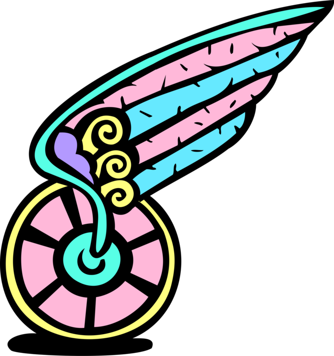 Wheel clipart winged. Of hermes vector image