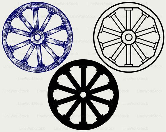 Wooden svg wagon silhouette. Wheel clipart wood wheel