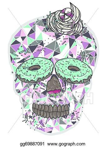 Vector illustration cute skull. Whip clipart bone