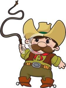 A cartoon cowboy with. Whip clipart clip art