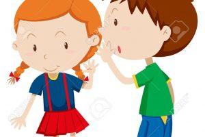 Whisper clipart boy. Whispering to the girl