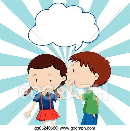 Whisper clipart boy. Vector whispering to girl