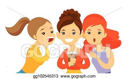 Whisper clipart gossip. Eps illustration young caucasian