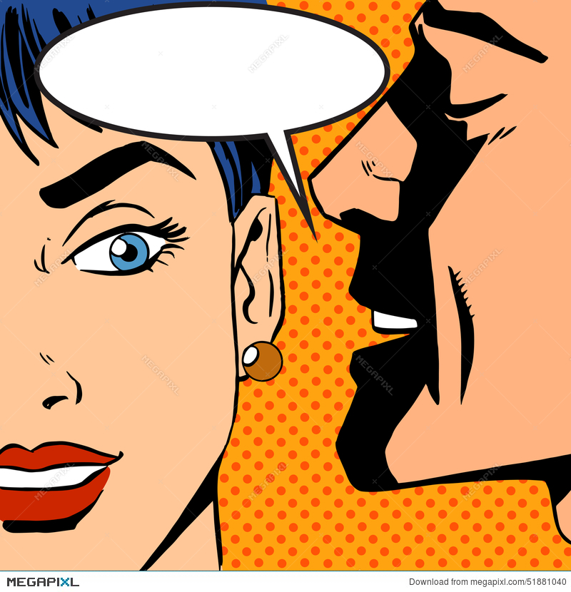 Whispers girl pop art. Whisper clipart man