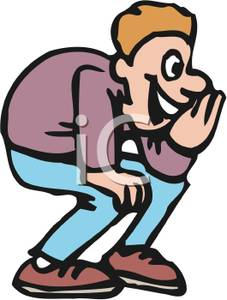 A crouched and whispering. Whisper clipart man