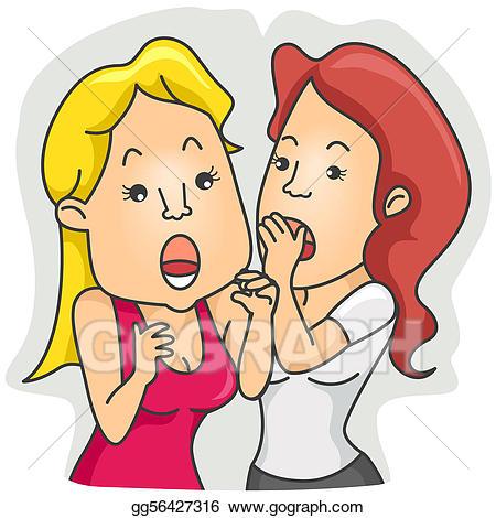 Whisper clipart office gossip. Stock illustration woman whispering