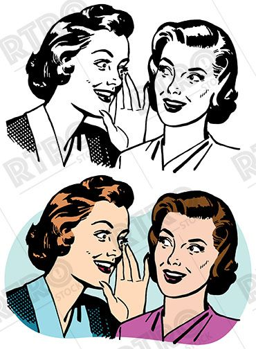 Whisper clipart office gossip. Two women whispering and