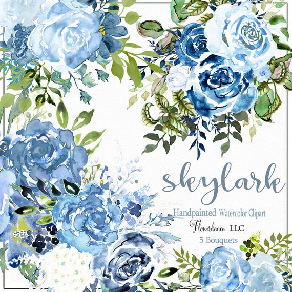 Sky watercolor bouquet arrangements. Whisper clipart something blue