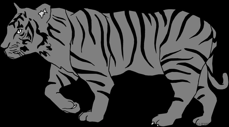 Animal free black images. White clipart bengal tiger