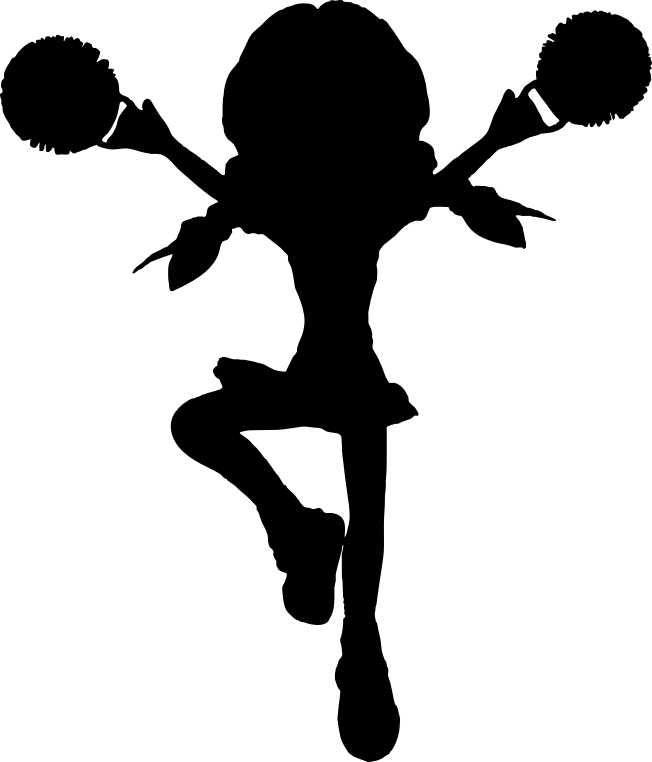 Cartoon silhouette medium image. White clipart cheerleader