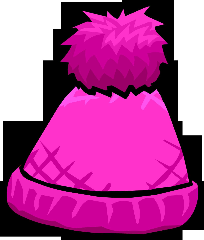 Pink toque club penguin. White clipart pom pom