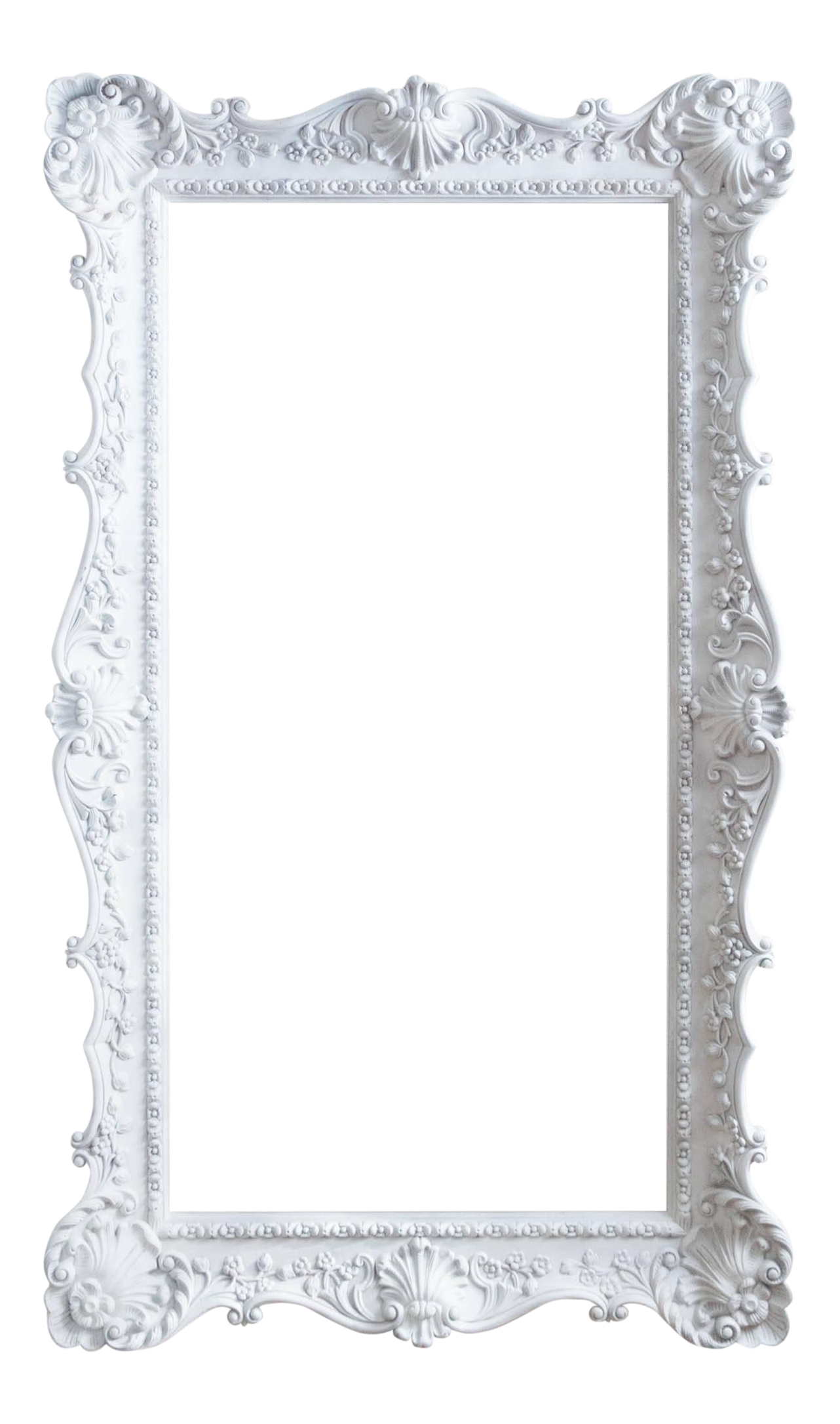 Vintage extra large ornate. White picture frame png