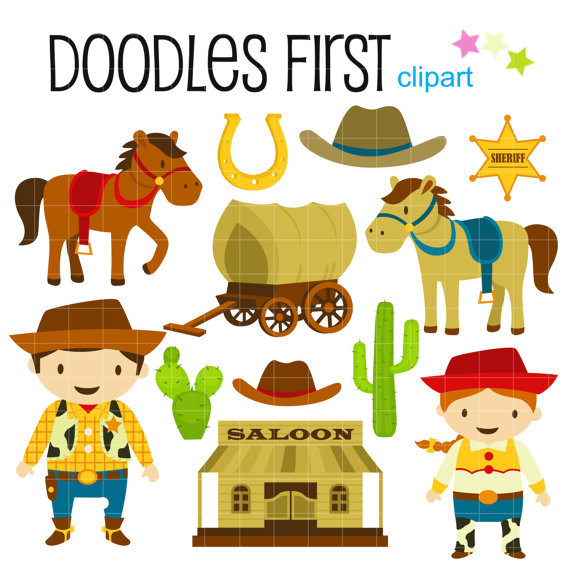 Wild west clipart. Cowboy and cowgirl digital