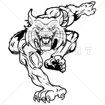 Mascot image of a. Wildcat clipart black and white