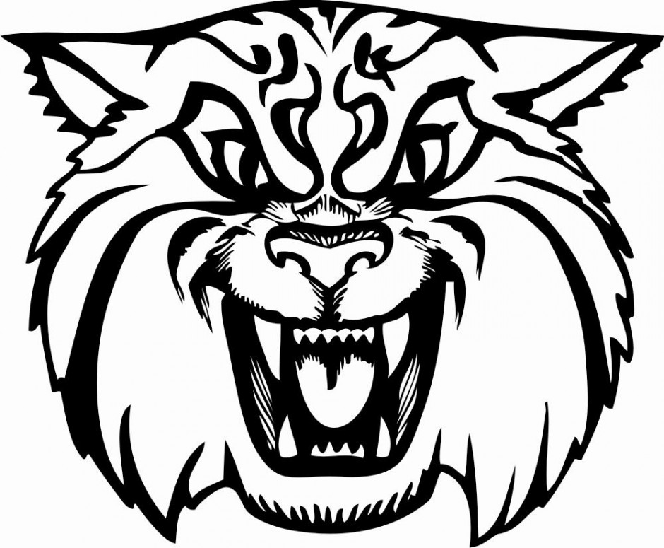 Wildcat clipart black gold. Free and white download