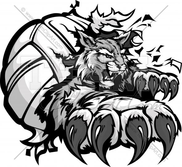 Volleyball cartoon mascot with. Wildcat clipart eagle claw