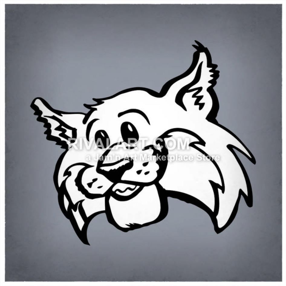 Wildcat clipart friendly. Wildcats bobcats head mascot
