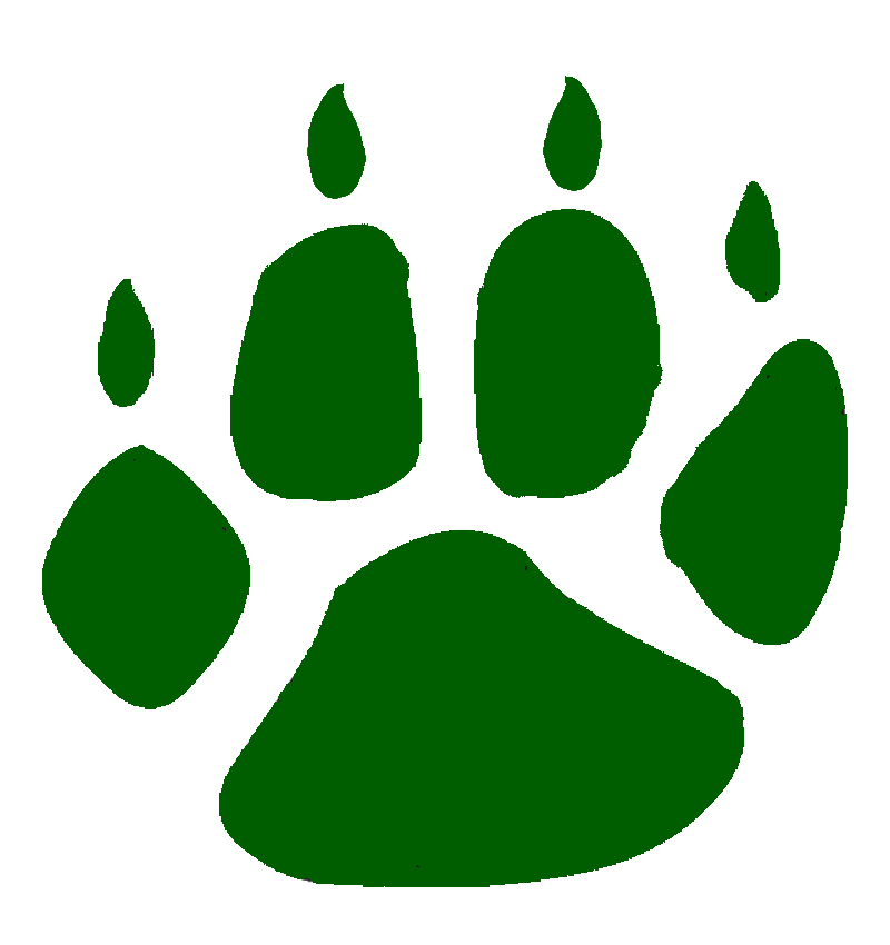 Free paw print download. Wildcat clipart green