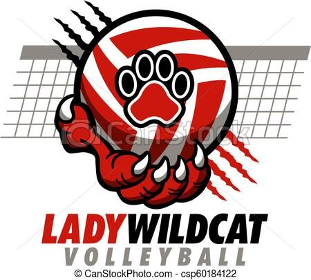 Volleyball vector stock illustration. Wildcat clipart lady