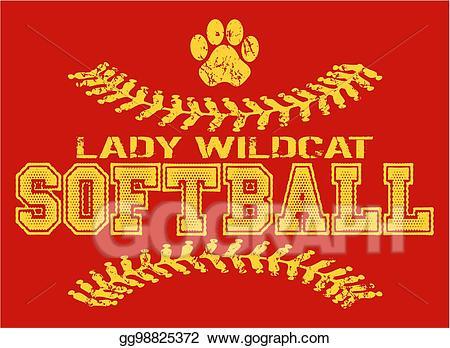 Vector art softball eps. Wildcat clipart lady