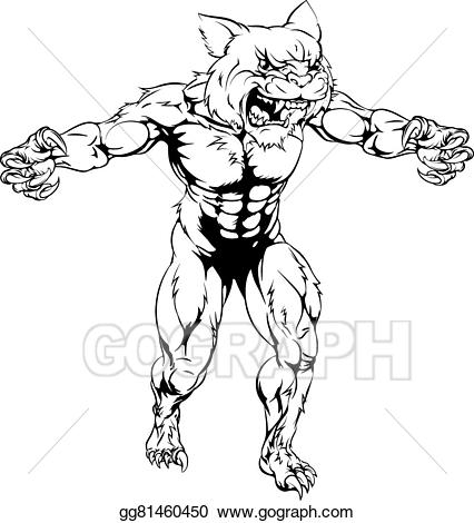 Clip art vector scary. Wildcat clipart scared