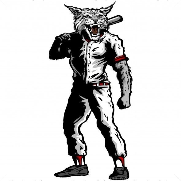 Wildcat clipart silhouette. Baseball player vector