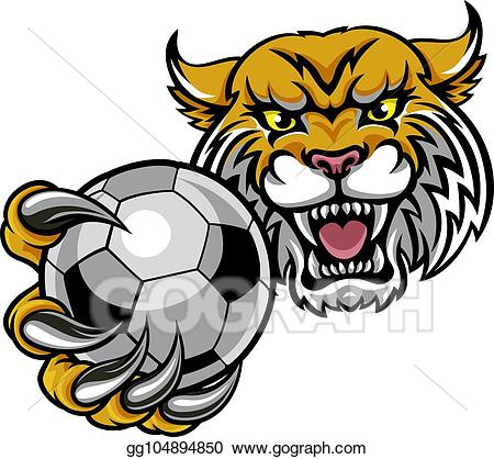 Wildcat clipart soccer. Vector illustration holding football