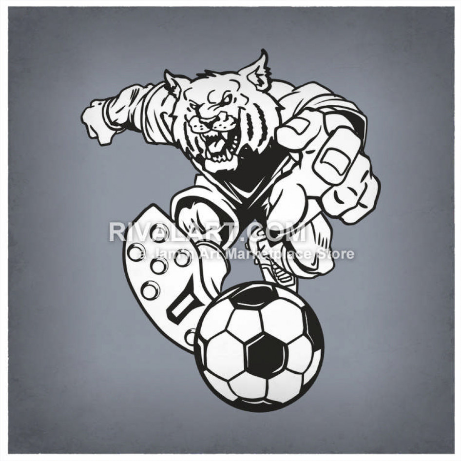 Wildcat clipart soccer. Bobcats wildcats player graphic