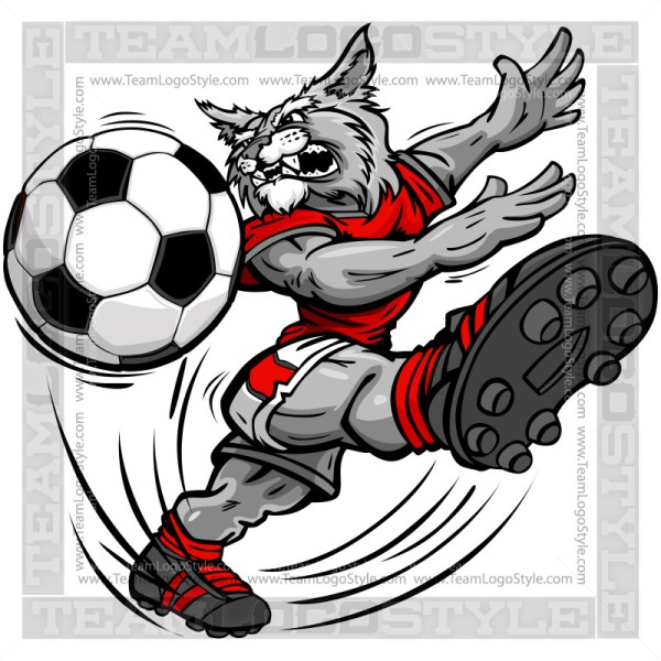 Cartoon vector . Wildcat clipart soccer