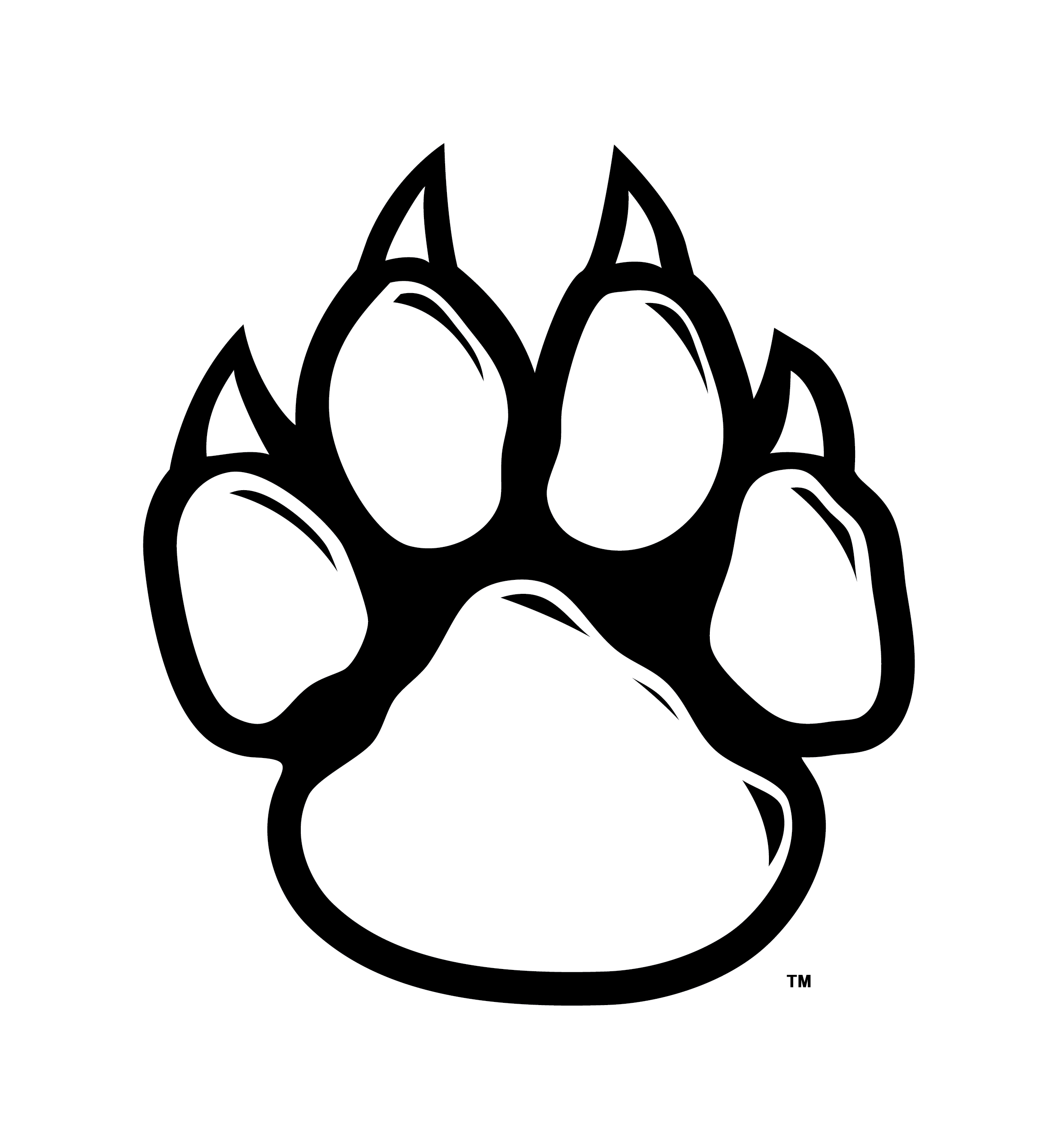 Wildcat clipart tiger claw. Paw clip art black