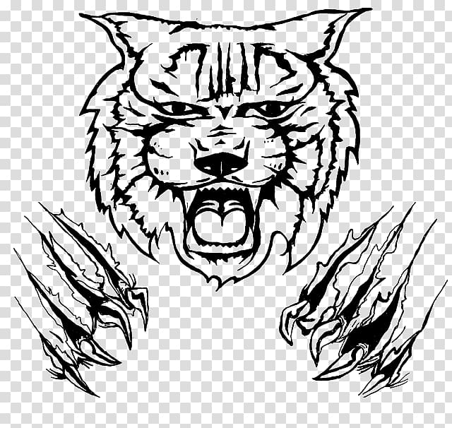 Drawing cat transparent background. Wildcat clipart tribal