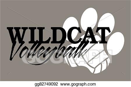 Vector art drawing gg. Wildcat clipart volleyball