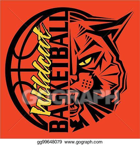 Wildcat clipart wildcat basketball. Eps illustration vector