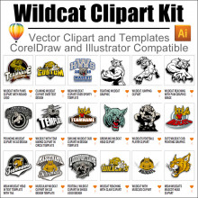 Wildcat clipart wildcat cub. Kit for coreldraw and