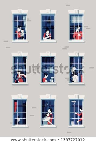 Win clipart apartment window. Quality flat vector illustration