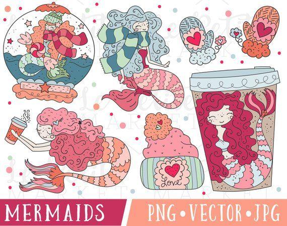 Win clipart cute. Mermaid set valentine
