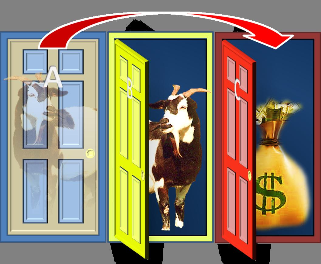 The monty hall problem. Win clipart double door