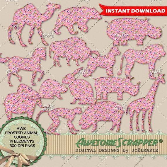 Digital animal cookies pink. Win clipart frosted