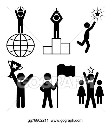 Vector leader people flat. Win clipart icon