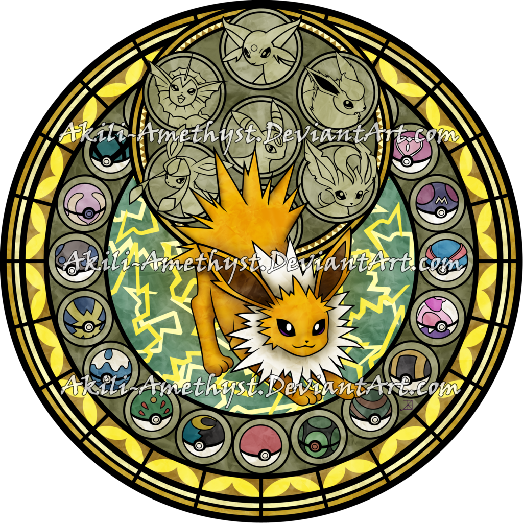 Win clipart stained glass. Sg jolteon by akili