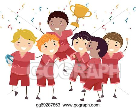 Win clipart stock. Vector kiddie champions illustration