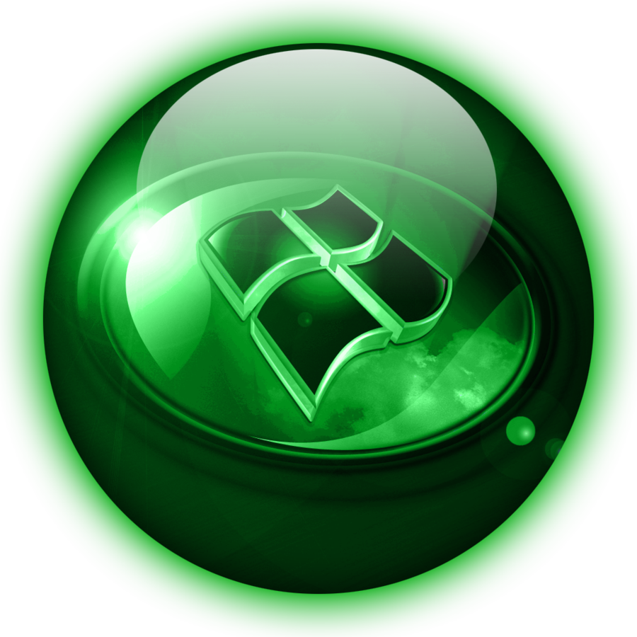 Windows 7 start orb png. Green glass by climber