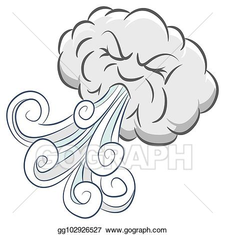 Windy clipart angry wind. Vector art powerful cloud