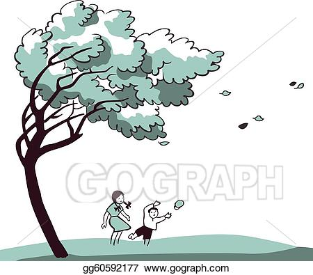 Stock illustration strong wind. Windy clipart blustery
