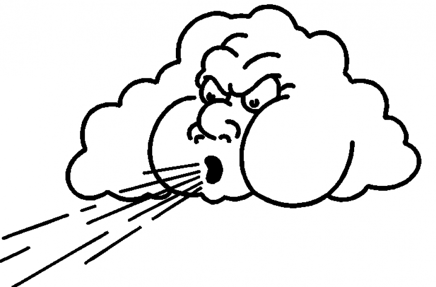 Windy clipart coloring page. Free images of wind