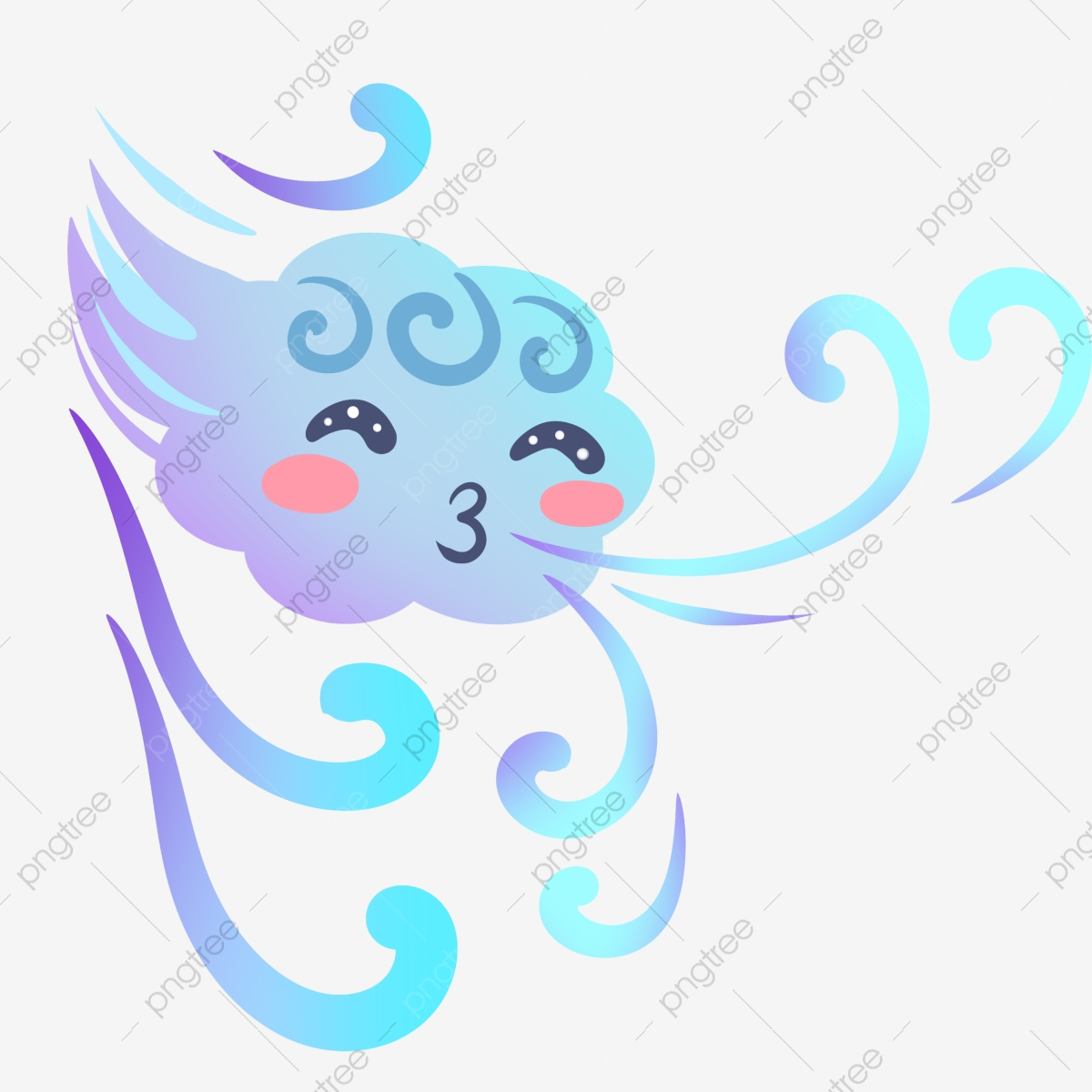 Gale weather illustration cartoon. Windy clipart cute
