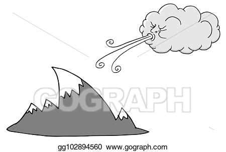 Windy clipart drawing. Vector art day mountains