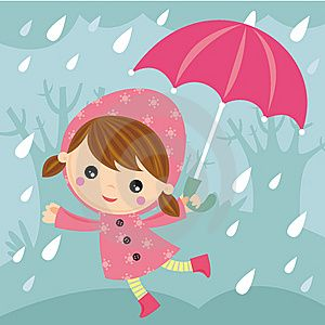 Rainy day cartoon stock. Windy clipart good morning