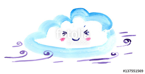 Cartoon cloud in sky. Windy clipart happy