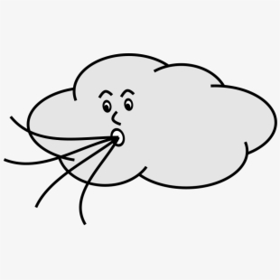 Black and white cartoon. Windy clipart high wind
